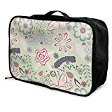 Qurbet Reisetaschen,Reisetasche, Travel Luggage Trolley Bag Portable Lightweight Suitcases Duffle Tote Bag Handbag, Floral Green Pattern