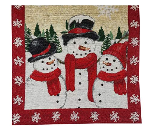 St. Nicholas Square Table Runner, with Trio of Snowmen, Sparkling Snowflakes, Snowman, Trees and Glitter Tapestry 36 inches for Winter and Christmas Tabletop Decorating and Entertaining