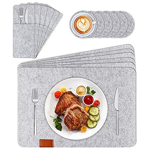 phixilin Filz Tischset, 18er Set Platzset aus Filz Abwaschbar (44x32 cm) mit 6er Untersetzer Rund und 6er Besteckbeutel Tischuntersetzer Platzdeckchen Anthrazit für Abendessen Party - Grau