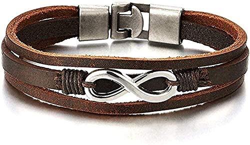 YOUZYHG co.,ltd Collar Infinity Love Number 8 Pulsera de Cuero Real marrón entrelazada para Hombres y Mujeres