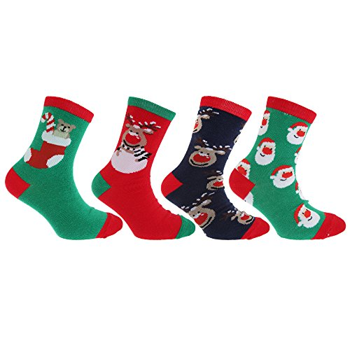 Floso® Kinder Socken mit weihnachtlichem Motiv (4er Pack) (37-39 EU) (Dunkelblau/Grün/Rot)