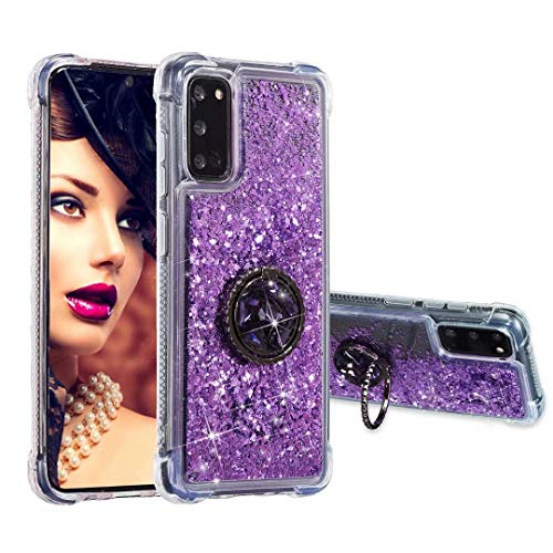 Phone Case for Samsung Galaxy Note 20 Ultra with Ring Holder, Glitter Sparkle Liquid Luxury Bling Clear Shockproof Full Protection Cover Diamond Floating Quicksand Protective Case for Girls Women