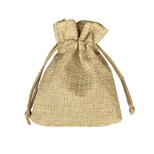 Fablcrew - 100 Sacchetti in iuta con cordoncino, per confetti, gioielli, regalo, matrimonio, battesimo, compleanno, Natale, Dimensioni: 7 x 9 cm