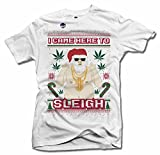 I Came Here to Sleigh Weed Ugly Christmas Sweater T-Shirt 6X White Men's Tee (6.1oz)