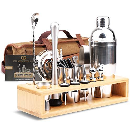 Cocktail Shaker Bartender Kit 21+3   Premium Bartendering Kit Stainless Steel Set w/ Wood Stand & Travel Bag   Home...