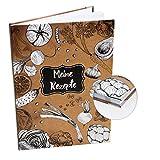 Logbuch-Verlag - Libro de recetas (DIN A4, diferentes diseños con y sin esquinas de metal), color Marrón-negro-blanco mit Metallecken