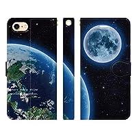 Ruuu iPhone8 iPhone7 iPhone6s 兼用 手帳型 iPhoneケース スマホ ケース カバー 地球と月 ギャラクシー 宇宙 コスモ柄 惑星 天体 月 地球 プラネット 星空 星