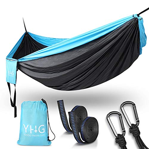 "Double Hammock, Portable Camping Hammock with Reinforced D-ring and Tree Straps, Durable Parachute Nylon Hammock for Outdoor Indoor Backpacking Travel Beach Garden Yard, 118""x78"" (Blue/ Grey)"