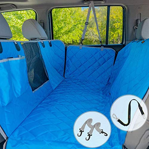 JUCAI Dog Car Seat Covers, Waterproof Scratch Proof Nonslip Pet Back Seat Covers with Mesh Window Convertible Dog Hammock for Car/Suvs/Trucks,Blue