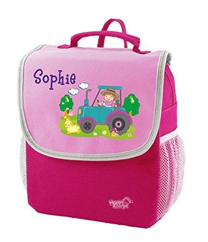 Mein Zwergenland Kindergartenrucksack Happy Knirps Next mit Name Traktor, 6L, Pink