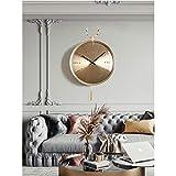 LYTZX Reloj de pared, 18 pulgadas, cabeza de ciervo redonda de cuarzo negro, reloj de pared de pintura galvanizada, reloj de cristal de alta transparencia