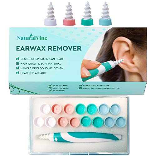 Earwax Remover, Soft Silicone Spiral Earwax Remover Tool, 16 Replacement Heads, q-tip Replacement