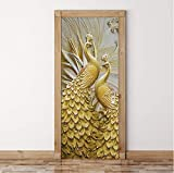 Etiqueta de la puerta Mural Calcomanía de papel de pared, Papel tapiz Moderno Clásico En relieve Pavo real dorado Murales fotográficos Papel de pared Estudio de la sala de estar Dormitorio del anciano Etiqueta de la puerta Decoración