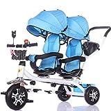xiix Cochecito de bebé Carro de bebé Triciclo Doble for niños Carro de Bicicleta Doble for bebé Carrito Grande Cochecito extendido Cesta de Almacenamiento de toldo sillas de Paseo (Color : F)