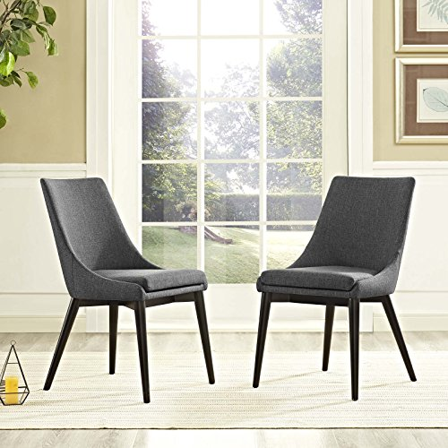 Modway Viscount Mid-Century Modern Upholstered Fabric Two Kitchen and Dining Room Chairs in Gray (Make Upholstered Chair)