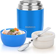 Food Jar Insulated Lunch Containers Nomeca 16 Oz Stainless Steel Thermoses Food Flask Lunch Box Vacuum Bottle with Folding Spoon (Blue)