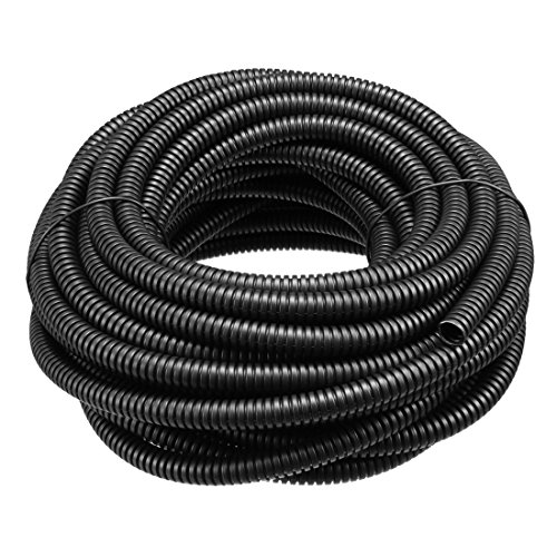 sourcing map Tube ondulé Tubes PP Conduit flexible tuyau souple Noir 6mmx9mm 10m long