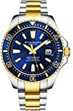 Stuhrling Original Watches for Men-Pro Diver Watch-Sports Watch for Men with Screw Down Crown for 330 Ft. of Water Resistance - Analog Dial, Quartz Movement (Two Tone Gold Blue)