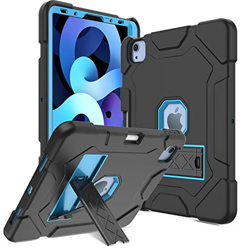 DONWELL for iPad Air 4 Generation 10.9 Case 2020, iPad Pro 11 2020/2018 Case, Hybrid Shockproof Rugged Drop Protection Cover Built with Kickstand & Pencil Holder (Black/Blue)