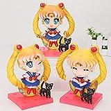 Lindo 3 unids / Set 3 generación Tsukino Usagi Figura Sailor Moon Figura Q versión Tsukino Usagi 10C...