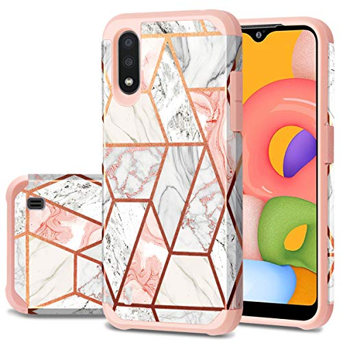 Fingic Samsung Galaxy A01 Case, Galaxy A01 Case, Rose Gold Marble Design Shiny Glitter Bumper Hybrid Hard PC Soft Rubber Silicone Cover Anti-Scratch Shockproof Protective Case 5.7 inch 2020, Rose Gold
