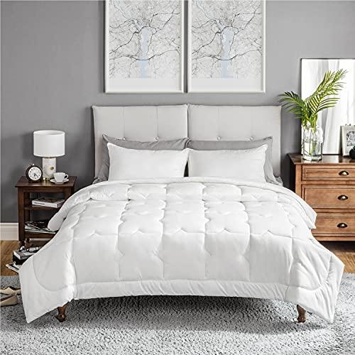 Bedsure Edredón Nórdico Relleno Cama 135 Verano - 230x220 cm Blanco, 180 gr/m² de Fibra Suave y Antiácaro, Reversible y Moderno