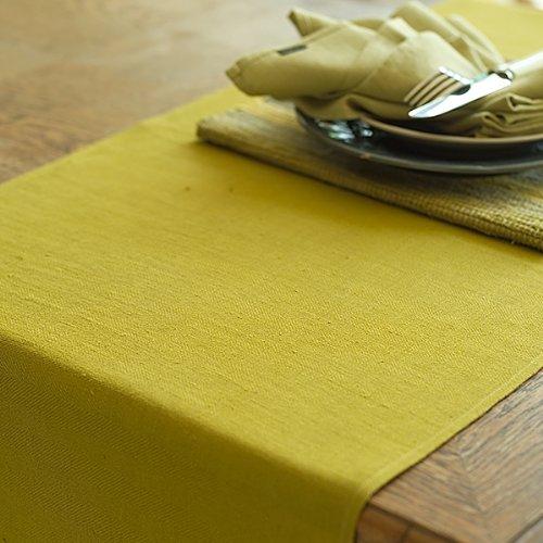 LinenMe Lara Chemin de Table en Lin Citrine, 41x250 cm