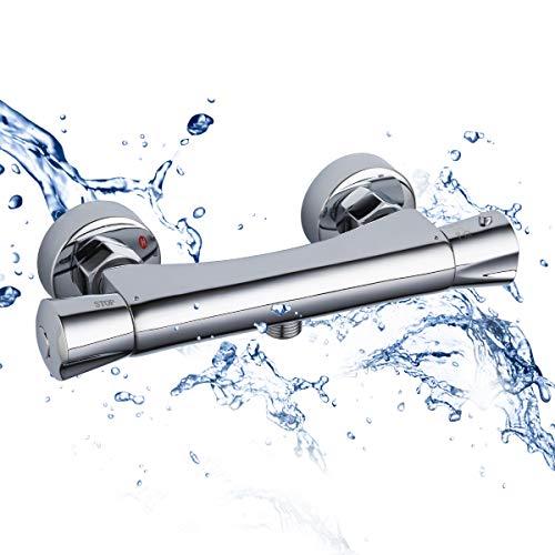 GAPPO Duschthermostat Mischbatterie für Dusche mit Temperatur und Durchflusseinstellung für Wandmontage Keramikkartusche aus Messing, Chrom, MEHRWEG …