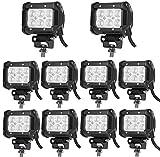 Leetop 10X 18W Focos de Trabajo LED, Faros de LED Tipo Barra Cuatri Contra Agua Golpes y Temperaturas Extremas