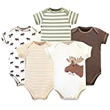 Touched by Nature Unisex Baby Organic Cotton Bodysuits, Moose 5-Pack, 6-9 Months