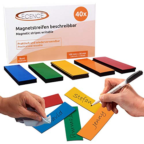 ECENCE 40 Magnetstreifen beschreibbar - 100mmx30mm bunt - zuschneidbare Haftstreifen - abwischbare Magnetschilder - Magnet-Etiketten für Whiteboards, Kühlschränke, Magnettafeln