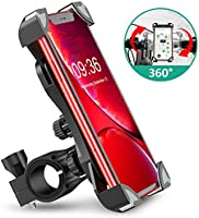 Bike Phone Mount, TEUMI Anti-Shake Bicycle Motorcycle Phone Holder 360° Rotation Universal Cradle Clamp Compatible with...