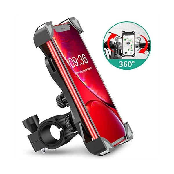 Bovon Anti-Shake Bike Phone Mount, 360° Rotation Universal Bicycle Motorcycle Phone Mount Holder Stand Cradle Clamp Compatible with iPhone 11 Pro Max/X/XR/XS MAX/8/7 Plus, Samsung Galaxy S10/S10e/S10