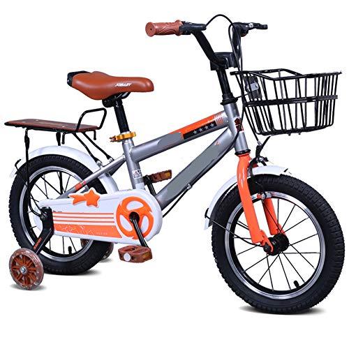 LFFME Bicicletas Infantiles 12'14' 16'18' para Niñas Y Niños De 3 A 12 Años con Ruedas De Entrenamiento Y Frenos De Mano, Bicicleta De Entrenamiento para Niños,A,12