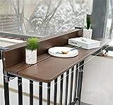 Balcón colgante Mesa plegable - 1.5cm Imitación Madera - Mesa de cubierta plegable balcón Ajustable Escritorio para portátiles, Bar Patio barandilla Mesa plegable Patio Jardín,Marrón,27 * 100cm