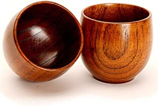 Traditional Handmade Jujube Wood Sake Cup Set of 2, Natural Solid Wooden Shot Glass-ware for Soju Liquor