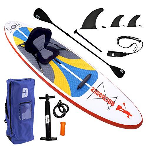 Aufblasbares Stand Up Paddle Board Set Inclusive längenverstellbares Kajak Paddel, Rücksack, Leash, Hub-Luftpumpe mit Manometer, Abnehmbarer Sitz mit Rückenlehne, Reparaturflicken, 300x76x15cm