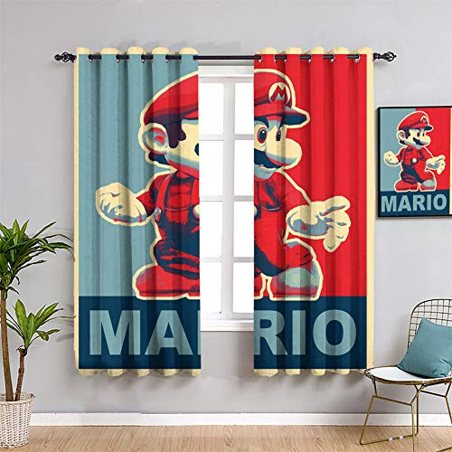 Super Mario Bros - Cortina de ventana con diseno de esperanza para habitaciones de ninos (42 x 63 pulgadas)