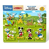 Melissa & Doug Disney Mickey Mouse Clubhouse Wooden Chunky Puzzle (8 Pieces, Great Gift for Girls and Boys –...