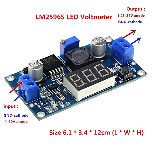 L-Yune,bolt 1pc LM2596 LM2596S LED Voltmeter DC-DC Step-down Step Down Adjustable Power Supply Module With Digital Display For Arduino Diy Kit (Size : 6.1 * 3.4 * 12cm)