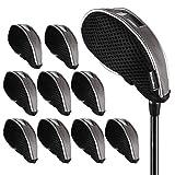 Andux malla de hierro de golf cabeza fundas con ventana 10piezas/set 01-YBMT-001–01negro/gris