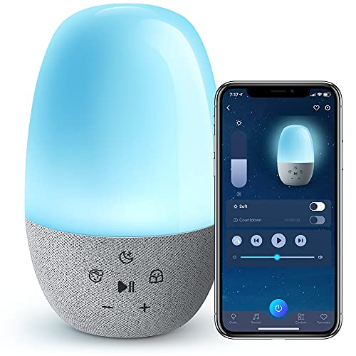 Baby Sound Machine, 9 Colors Night Light, 27 Sounds Sleep Trainer for Toddlers and Kids, White Noise Soother with Touch, App&Voice Control