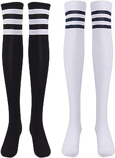 Medias de Rodilla para Mujer para Invierno Cálido Medias de Algodón Retro Calcetines Largos Overknee Calcetines Deportivos con Tres Rayas