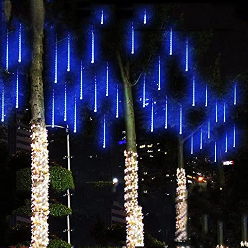 LED Meteor Shower Rain Lights Falling Rain Drop String Lights Waterproof Icicle Snow Fall Lighting with 30cm 8 Tube 144 Leds for Holiday Xmas Tree Valentine Wedding Party Decoration ( Color : Blue )