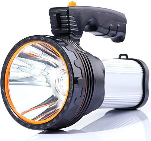 LED Taschenlampe 6000 Lumen USB Aufladbar Handscheinwerfer,mit 6000mAh Powerbank Wasserdicht Led Handscheinwerfer Handlampe Outdoor Wasserfest Super Hell (Silver)