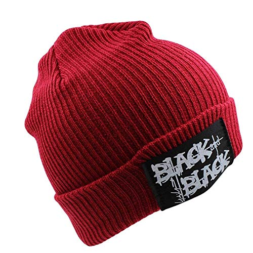 Bonnet Unisexe Chapeau tricoté Homme Beanie Hats, Femmes Lettre Chaud Casquette De Neige d'hiver De Mode Tricoté Chapeaux Chapeaux pour Femme Noir Bonnet Skullies Bonnet Gorro @ Rouge