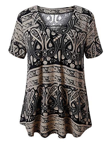 FOLUNSI Women's Plus Size Short Sleeve Henley Shirt V Neck Floral Blouses Tunic Tops M-4XL