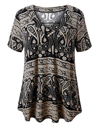 FOLUNSI Women's Plus Size Foral Printed Short Sleeve Henley V Neck Pleated Casual Flare Tunic Blouse Shirt Multi Black XL