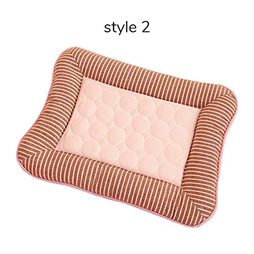 Zhengpingpai Summer Mat Cooling Pet Products Stripe Mattress for Medium Small Dog Cat House Car Pet Seat Cushion (Color : Style 2 PINK, Size : S)