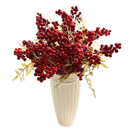 PIKAqiu33 Home Decor, Artificial Flowers Auspicious Fruits Rich Fruit Home Decor Plant Berries, Products for New Year (Red)
